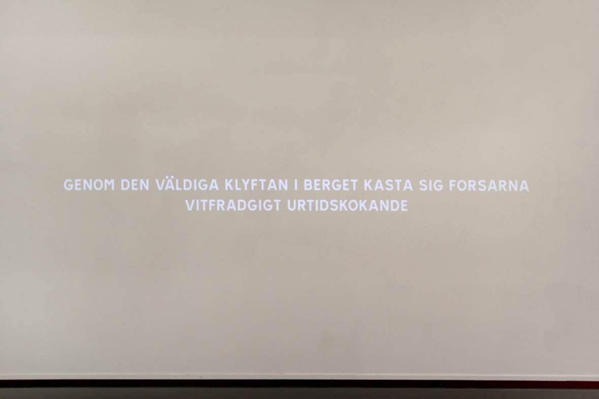 Hanna Sjostrand And Simon Moller Suset I En Furuskog 2014 Text Projection Booklet Bench 1h 9min Loop Photo By Woodpecker Projects